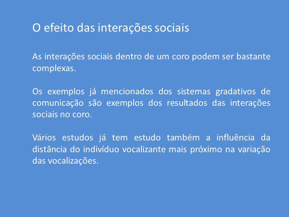 O efeito das interações sociais As interações sociais dentro de um coro podem ser bastante complexas. Os exemplos já mencionados dos sistemas gradativ