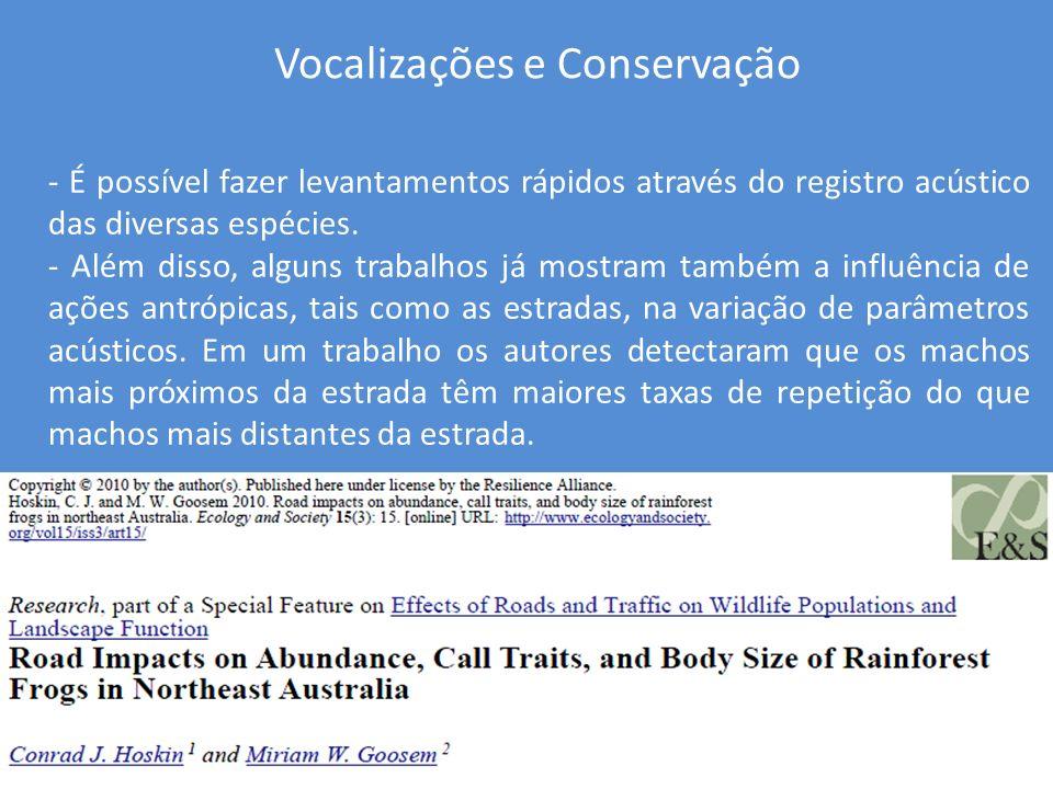 Neste trabalho o autor mostrou a influência dos ruídos de tráfego no comportamento de Hyla arborea.
