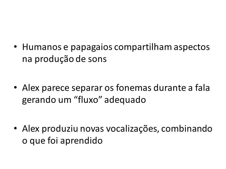 Humanos e papagaios compartilham aspectos na produção de sons Alex parece separar os fonemas durante a fala gerando um fluxo adequado Alex produziu no