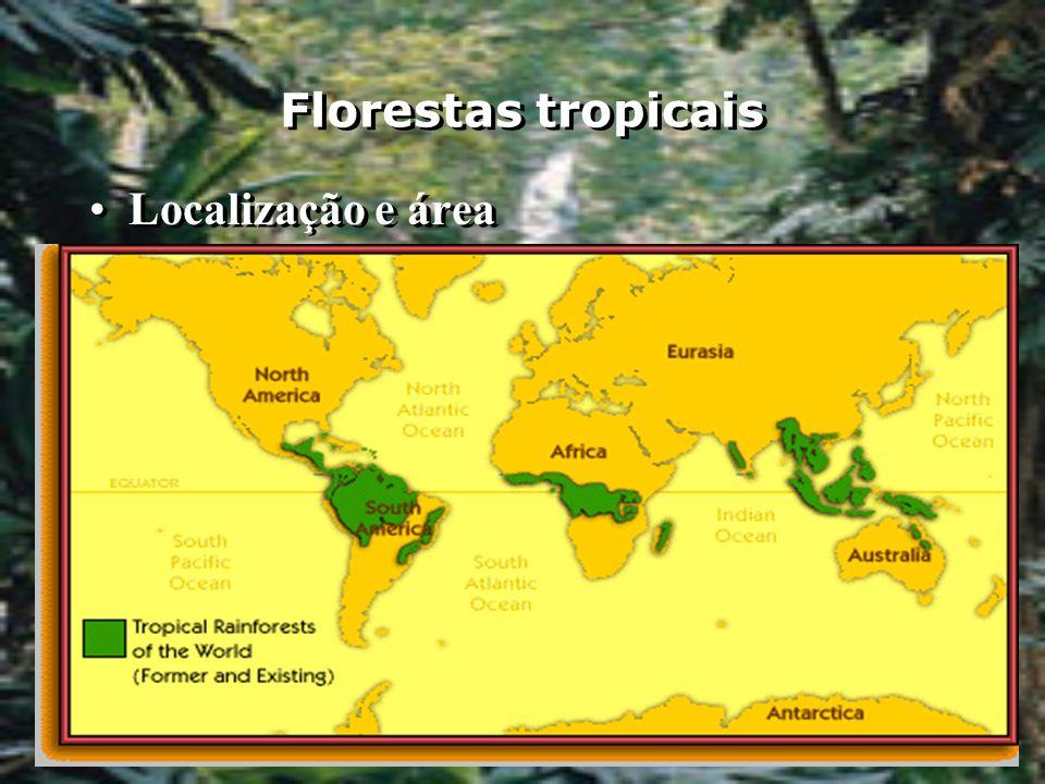 Florestas tropicais Localização e área