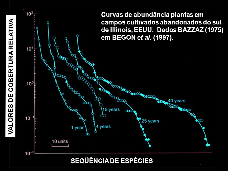 Curvas de abundância plantas em campos cultivados abandonados do sul de Illinois, EEUU. Dados BAZZAZ (1975) em BEGON et al. (1997). SEQÜÊNCIA DE ESPÉC