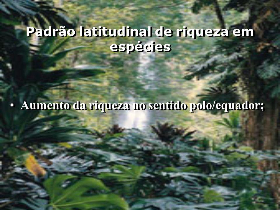 Padrão latitudinal de riqueza em espécies Aumento da riqueza no sentido polo/equador;