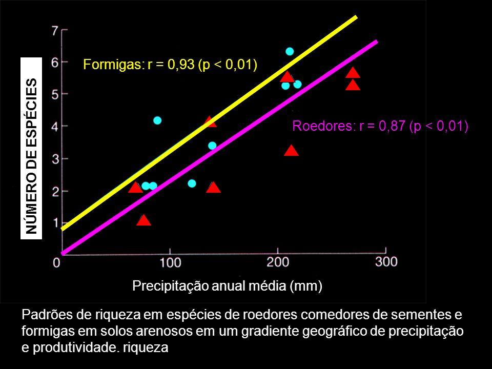 Precipitação anual média (mm) Número de espécies comuns Formigas: r = 0,93 (p < 0,01) Roedores: r = 0,87 (p < 0,01) Padrões de riqueza em espécies de