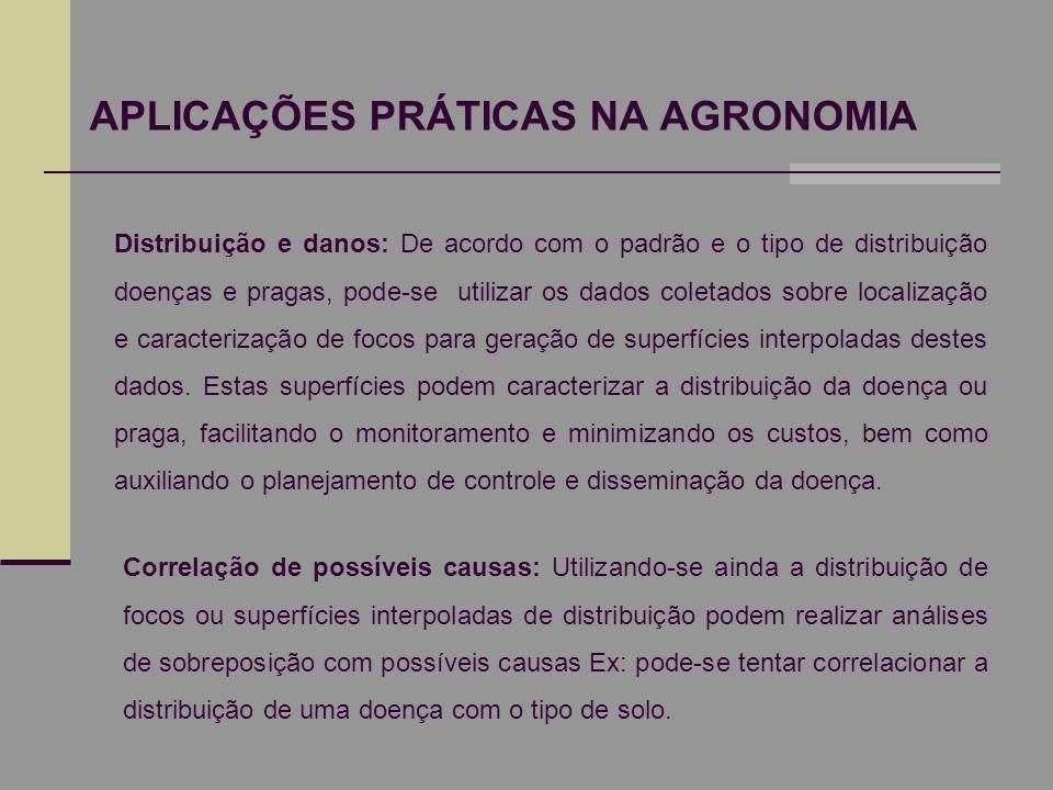 APLICAÇÕES PRÁTICAS NA AGRONOMIA Distribuição e danos: De acordo com o padrão e o tipo de distribuição doenças e pragas, pode-se utilizar os dados col