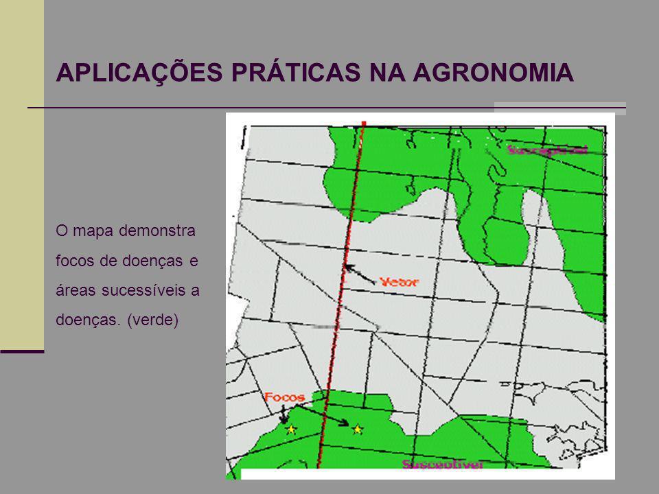 APLICAÇÕES PRÁTICAS NA AGRONOMIA O mapa demonstra focos de doenças e áreas sucessíveis a doenças. (verde)