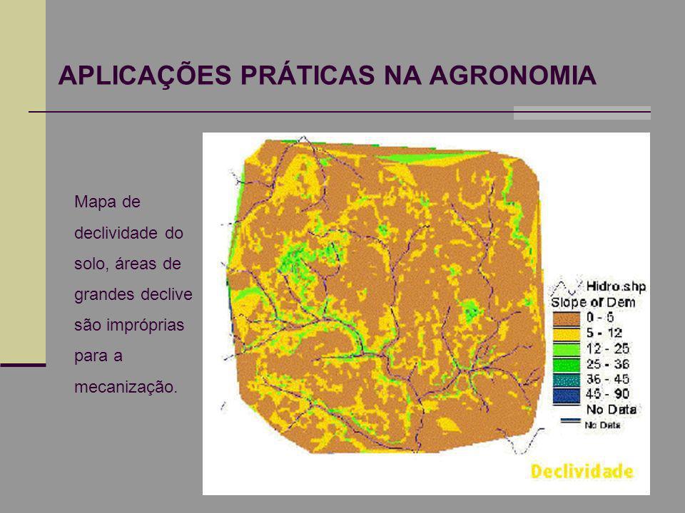 APLICAÇÕES PRÁTICAS NA AGRONOMIA Mapa de declividade do solo, áreas de grandes declive são impróprias para a mecanização.