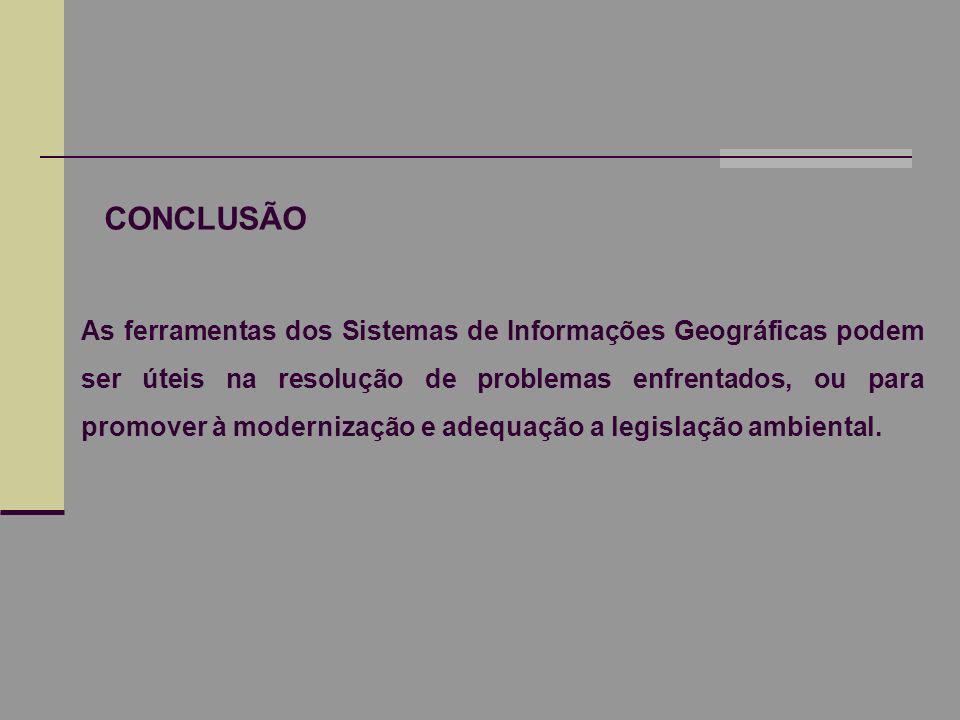 CONCLUSÃO As ferramentas dos Sistemas de Informações Geográficas podem ser úteis na resolução de problemas enfrentados, ou para promover à modernizaçã