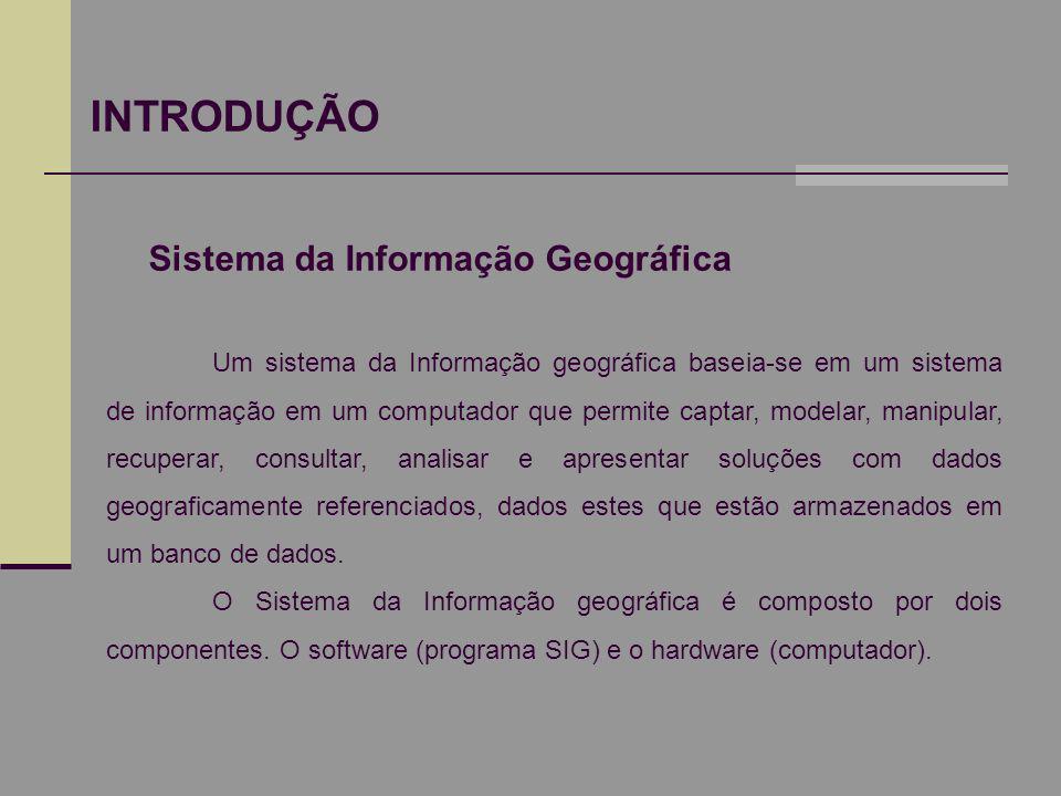 INTRODUÇÃO Sistema da Informação Geográfica Um sistema da Informação geográfica baseia-se em um sistema de informação em um computador que permite cap