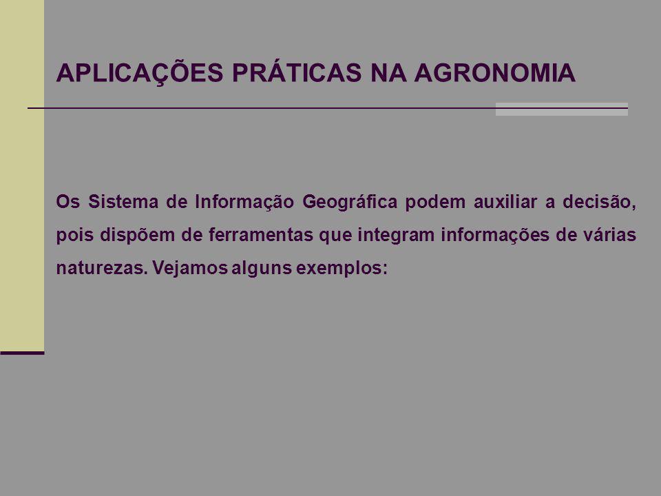 APLICAÇÕES PRÁTICAS NA AGRONOMIA Os Sistema de Informação Geográfica podem auxiliar a decisão, pois dispõem de ferramentas que integram informações de