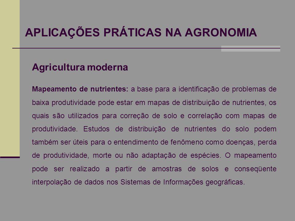 APLICAÇÕES PRÁTICAS NA AGRONOMIA Agricultura moderna Mapeamento de nutrientes: a base para a identificação de problemas de baixa produtividade pode es
