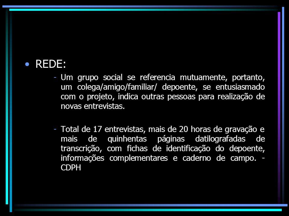 REDE: -Um grupo social se referencia mutuamente, portanto, um colega/amigo/familiar/ depoente, se entusiasmado com o projeto, indica outras pessoas pa