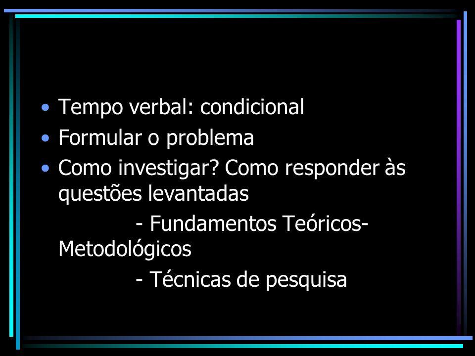 Tempo verbal: condicional Formular o problema Como investigar? Como responder às questões levantadas - Fundamentos Teóricos- Metodológicos - Técnicas