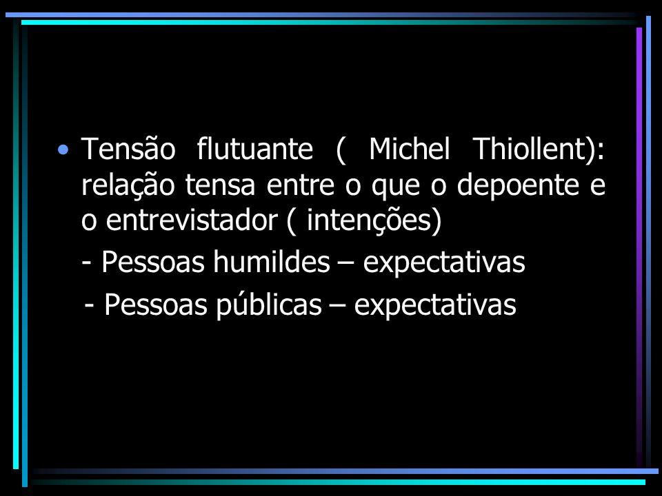 Tensão flutuante ( Michel Thiollent): relação tensa entre o que o depoente e o entrevistador ( intenções) - Pessoas humildes – expectativas - Pessoas