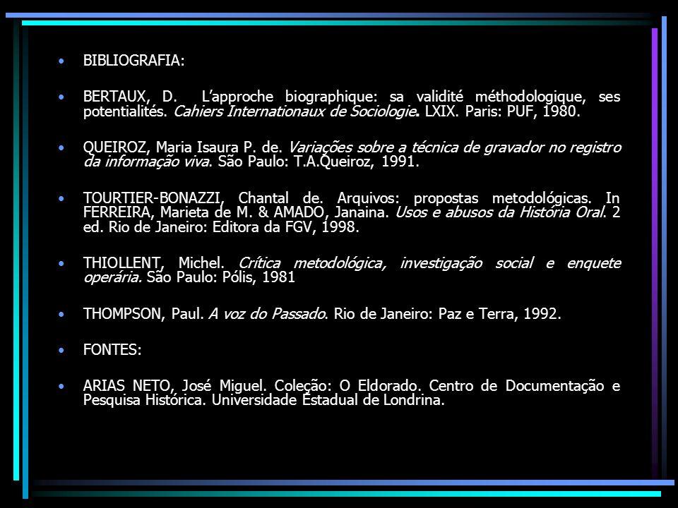 BIBLIOGRAFIA: BERTAUX, D. Lapproche biographique: sa validité méthodologique, ses potentialités. Cahiers Internationaux de Sociologie. LXIX. Paris: PU