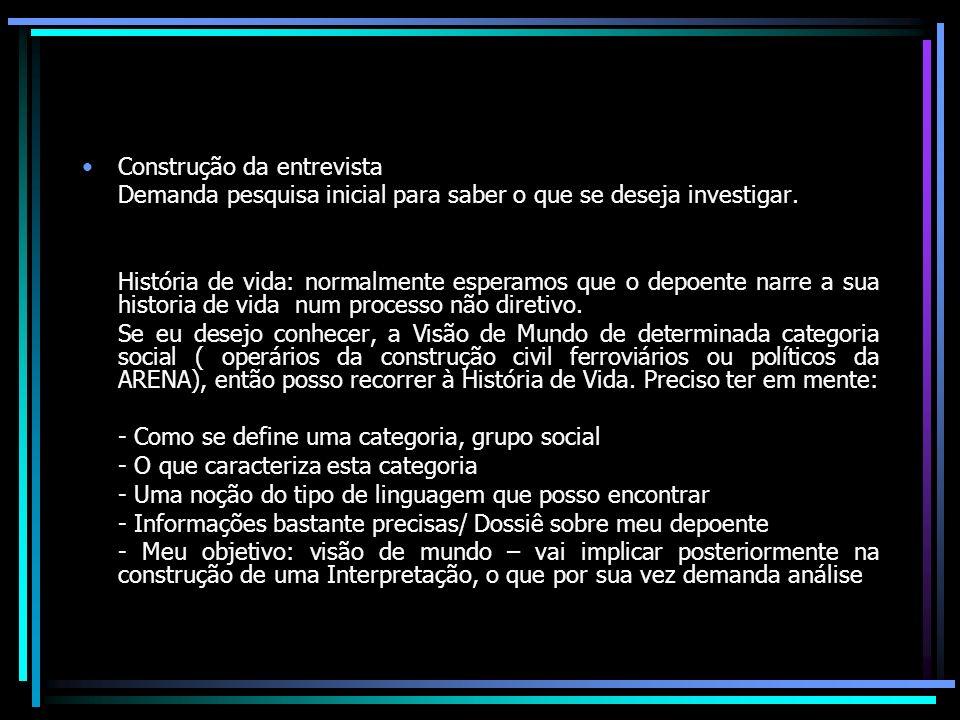 CRITÉRIOS DE SELEÇÃO DOS ENTREVISTADOS - Pessoas que chegaram a Londrina entre o final dos anos vinte e final dos anos 50 / Recorte da minha pesquisa – produção das representações sobre a cidade.