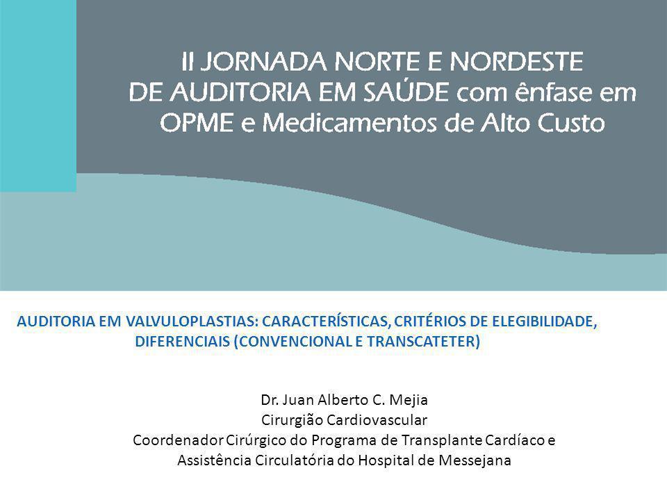 AUDITORIA EM VALVULOPLASTIAS: CARACTERÍSTICAS, CRITÉRIOS DE ELEGIBILIDADE, DIFERENCIAIS (CONVENCIONAL E TRANSCATETER) Dr. Juan Alberto C. Mejia Cirurg