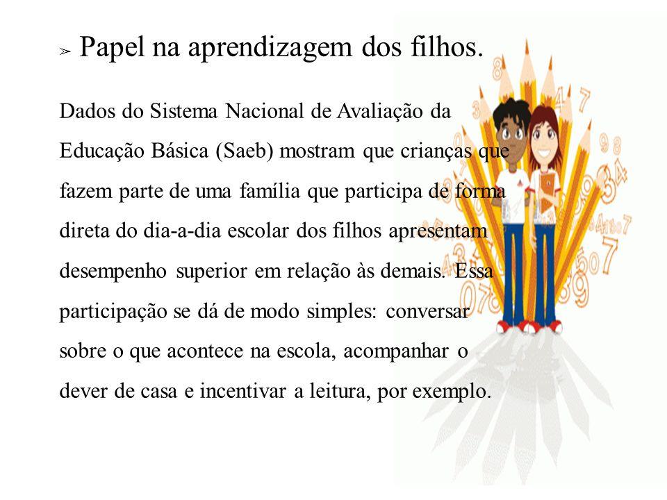 Papel na aprendizagem dos filhos. Dados do Sistema Nacional de Avaliação da Educação Básica (Saeb) mostram que crianças que fazem parte de uma família