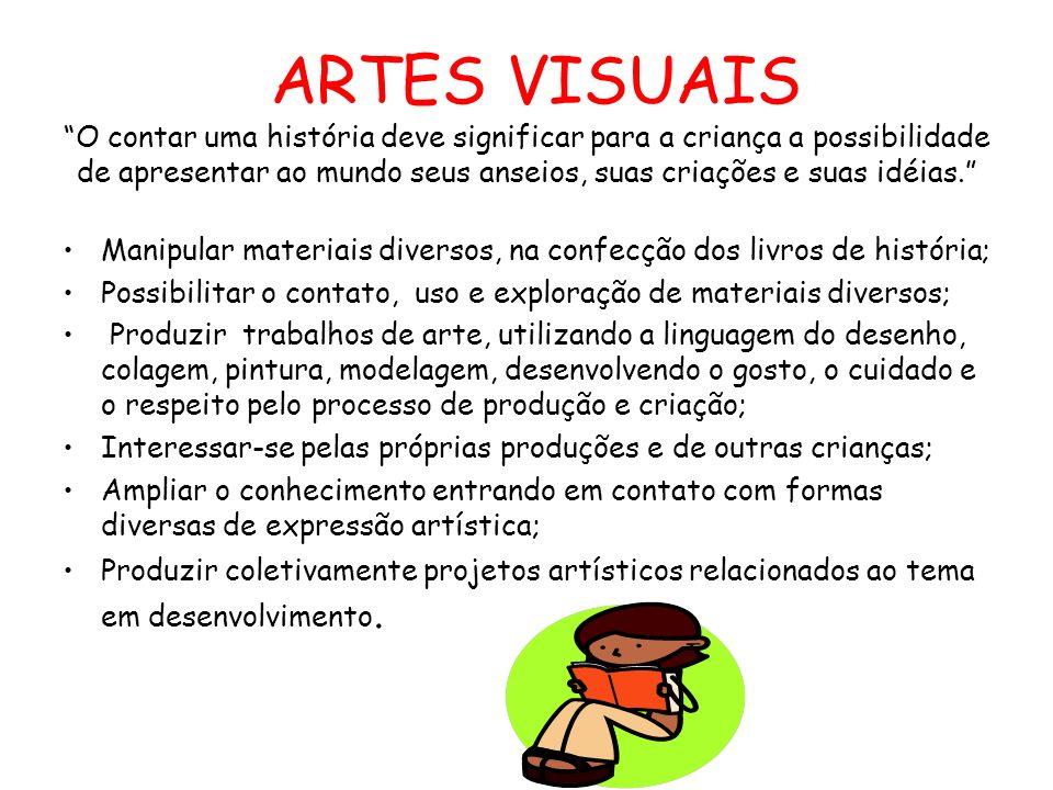 ARTES VISUAIS O contar uma história deve significar para a criança a possibilidade de apresentar ao mundo seus anseios, suas criações e suas idéias. M