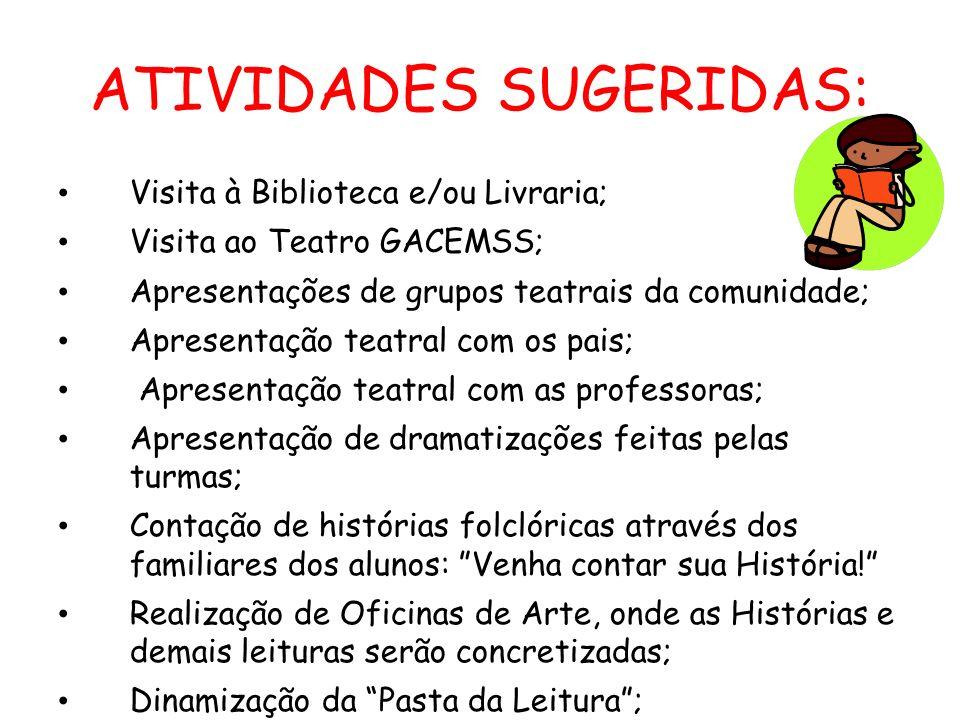 ATIVIDADES SUGERIDAS: Visita à Biblioteca e/ou Livraria; Visita ao Teatro GACEMSS; Apresentações de grupos teatrais da comunidade; Apresentação teatra