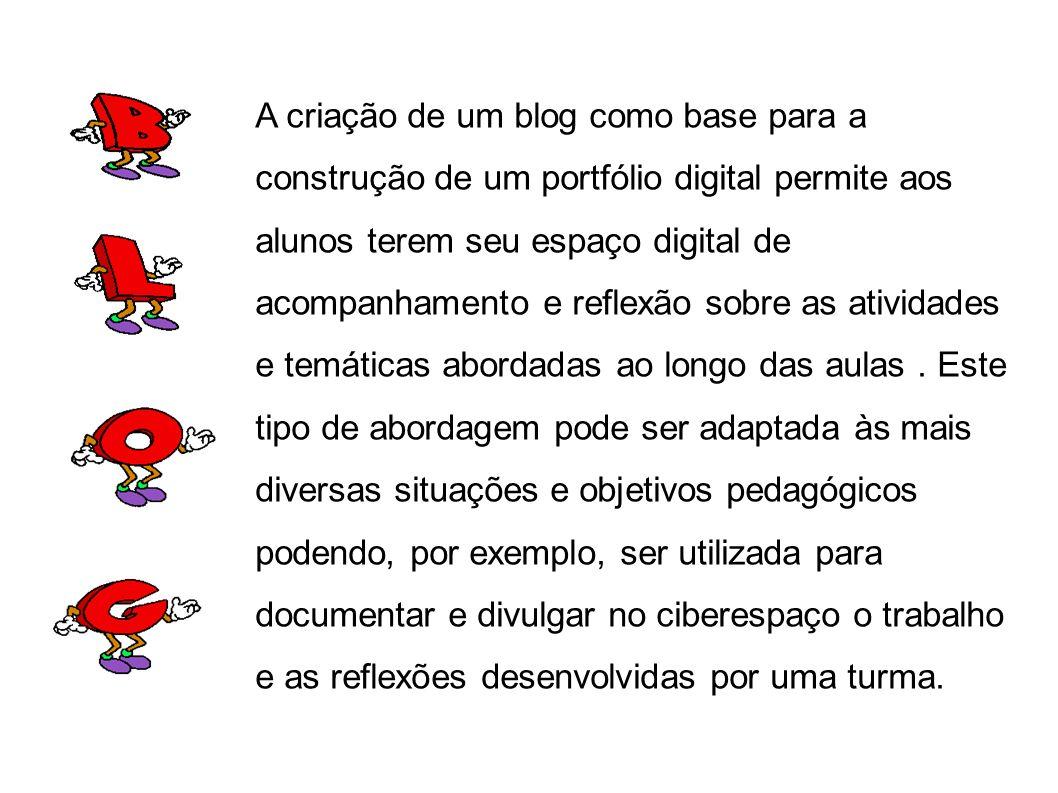 A criação de um blog como base para a construção de um portfólio digital permite aos alunos terem seu espaço digital de acompanhamento e reflexão sobre as atividades e temáticas abordadas ao longo das aulas.