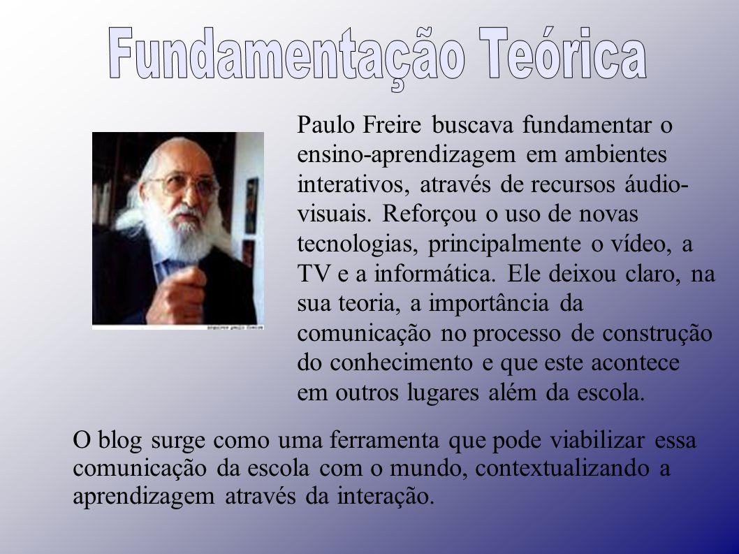 Paulo Freire buscava fundamentar o ensino-aprendizagem em ambientes interativos, através de recursos áudio- visuais.