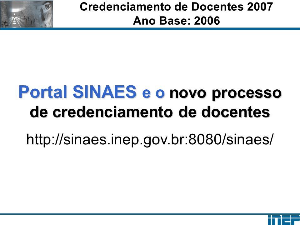 Credenciamento de Docentes 2007 Ano Base: 2006 Portal SINAES e o novo processo de credenciamento de docentes http://sinaes.inep.gov.br:8080/sinaes/