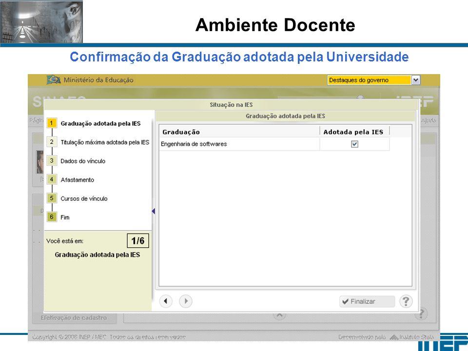 Ambiente Docente Confirmação da Graduação adotada pela Universidade
