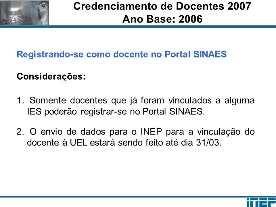 Credenciamento de Docentes 2007 Ano Base: 2006 Registrando-se como docente no Portal SINAES Considerações: 1. Somente docentes que já foram vinculados