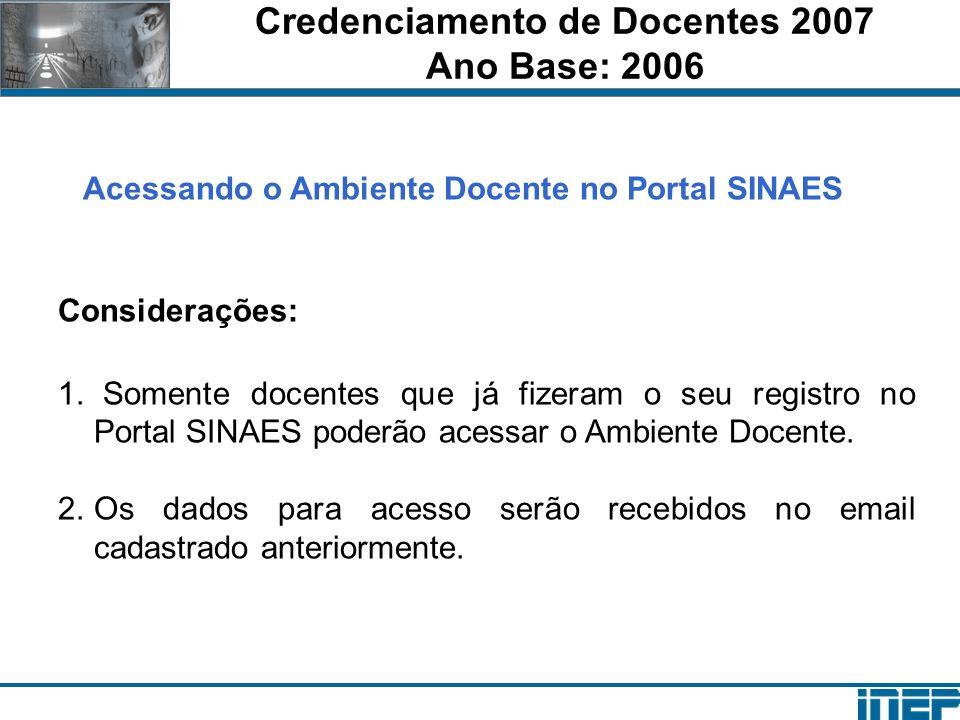 Credenciamento de Docentes 2007 Ano Base: 2006 Acessando o Ambiente Docente no Portal SINAES Considerações: 1. Somente docentes que já fizeram o seu r