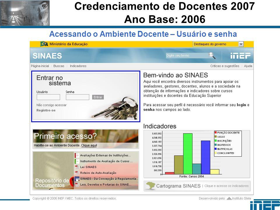 Credenciamento de Docentes 2007 Ano Base: 2006 Acessando o Ambiente Docente – Usuário e senha
