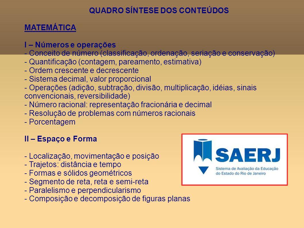 QUADRO SÍNTESE DOS CONTEÚDOS MATEMÁTICA I – Números e operações - Conceito de número (classificação, ordenação, seriação e conservação) - Quantificaçã