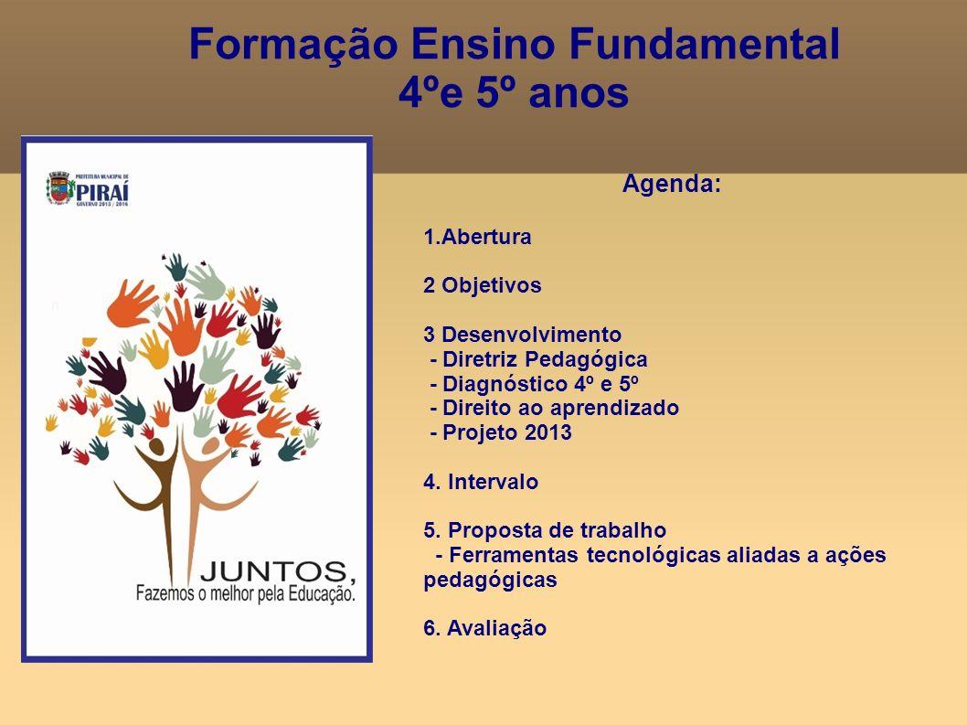 Formação Ensino Fundamental 4ºe 5º anos Agenda: 1.Abertura 2 Objetivos 3 Desenvolvimento - Diretriz Pedagógica - Diagnóstico 4º e 5º - Direito ao apre