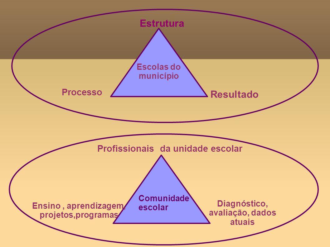 Estrutura Escolas do município Ensino, aprendizagem, projetos,programas Resultado Profissionais da unidade escolar Processo Diagnóstico, avaliação, da