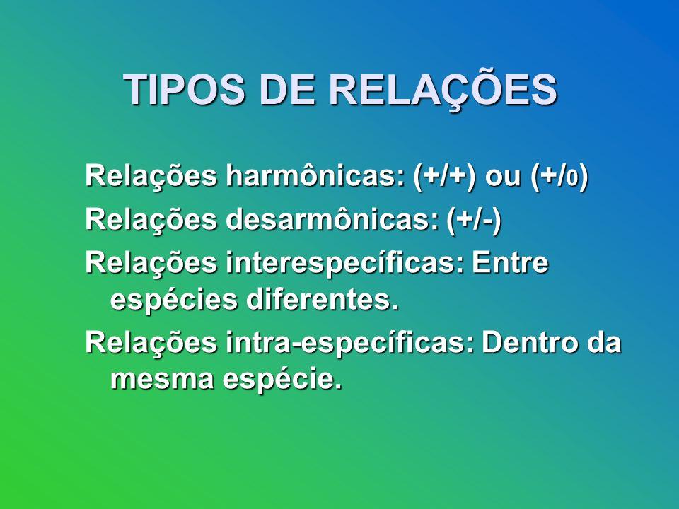 TIPOS DE RELAÇÕES Relações harmônicas: (+/+) ou (+/ 0 ) Relações desarmônicas: (+/-) Relações interespecíficas: Entre espécies diferentes.