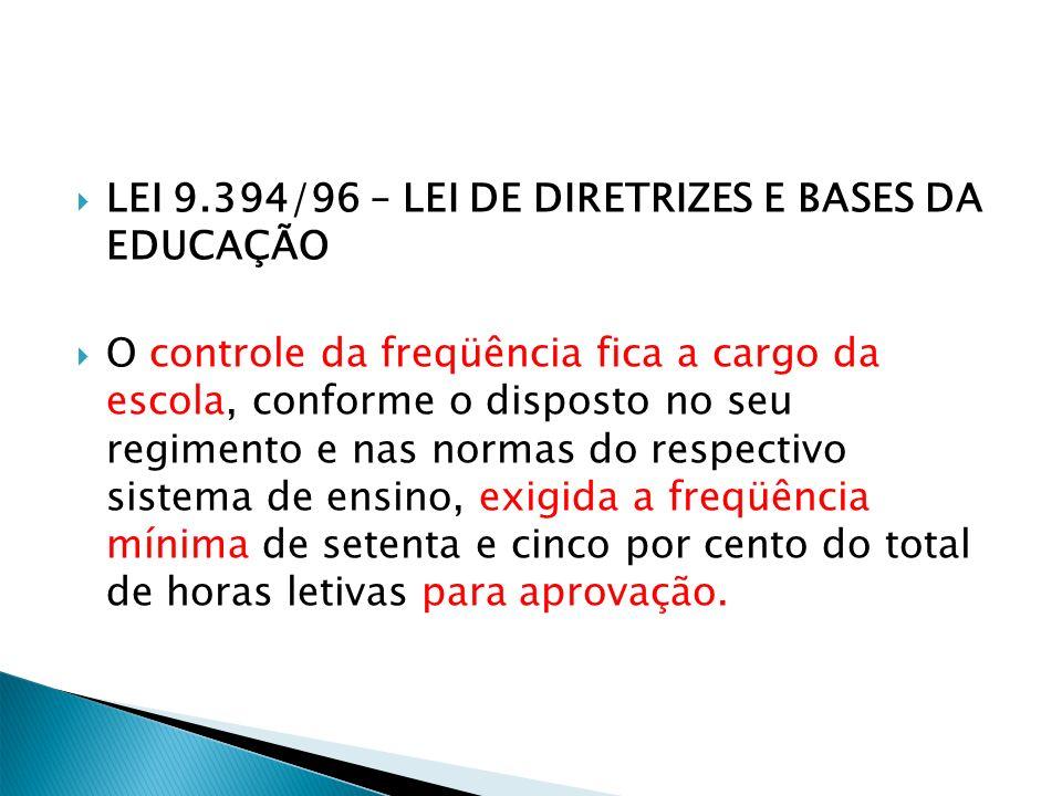 LEI 9.394/96 – LEI DE DIRETRIZES E BASES DA EDUCAÇÃO O controle da freqüência fica a cargo da escola, conforme o disposto no seu regimento e nas norma
