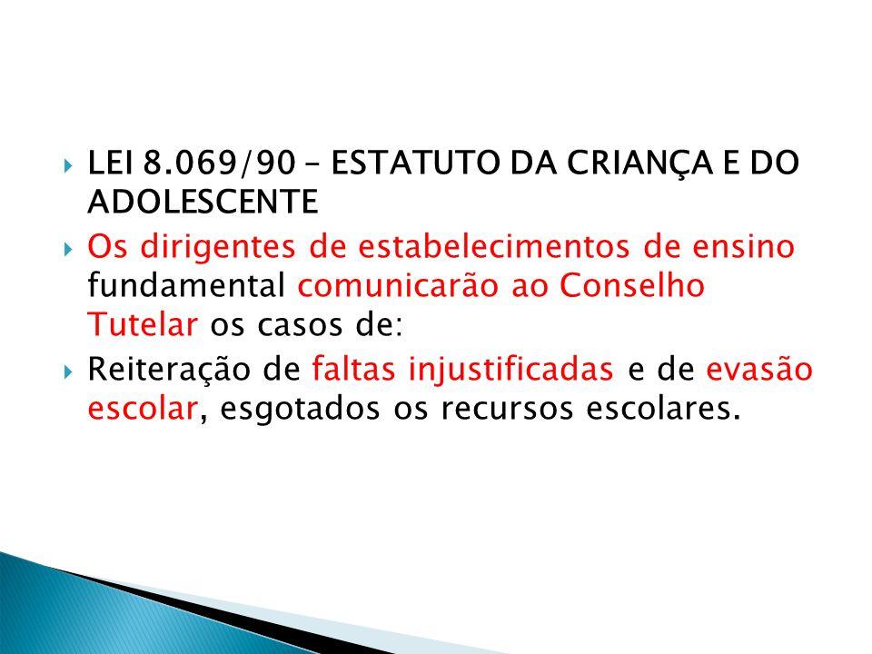 LEI 8.069/90 – ESTATUTO DA CRIANÇA E DO ADOLESCENTE Os dirigentes de estabelecimentos de ensino fundamental comunicarão ao Conselho Tutelar os casos d