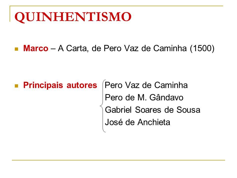 QUINHENTISMO Marco – A Carta, de Pero Vaz de Caminha (1500) Principais autores Pero Vaz de Caminha Pero de M. Gândavo Gabriel Soares de Sousa José de