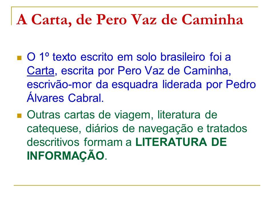 A Carta, de Pero Vaz de Caminha O 1º texto escrito em solo brasileiro foi a Carta, escrita por Pero Vaz de Caminha, escrivão-mor da esquadra liderada