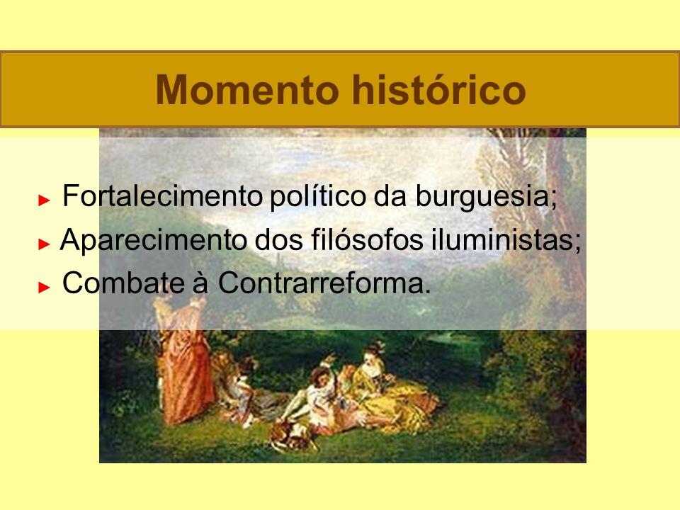Fortalecimento político da burguesia; Aparecimento dos filósofos iluministas; Combate à Contrarreforma.