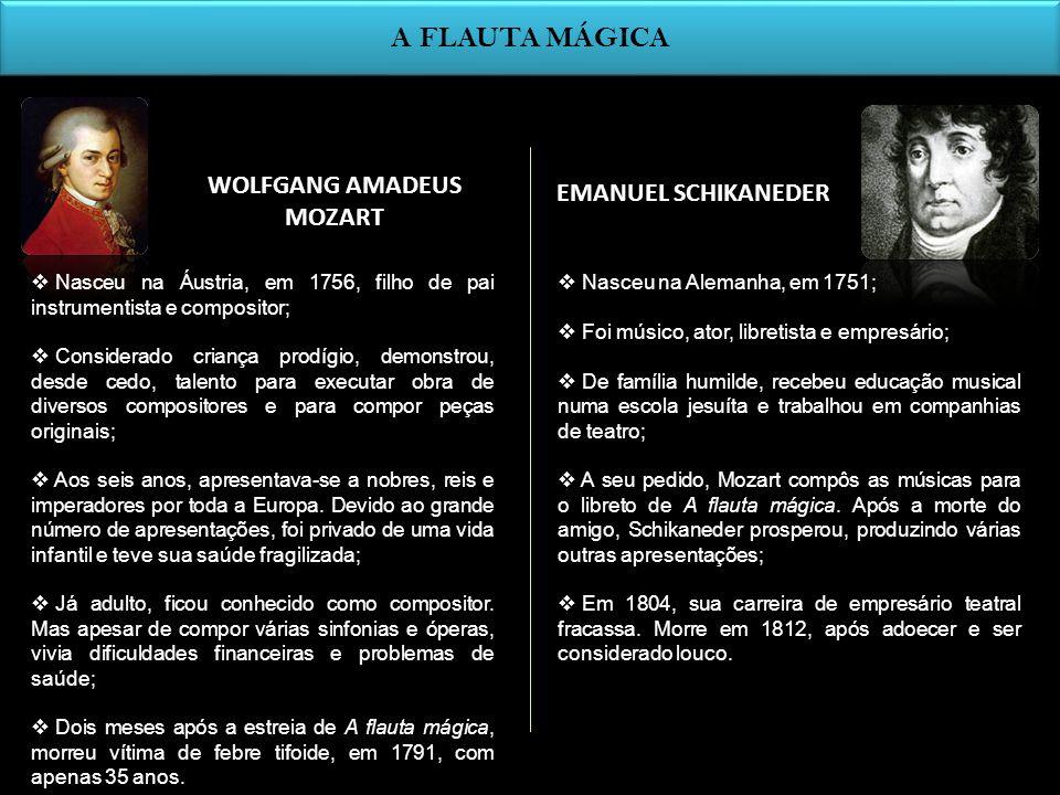 WOLFGANG AMADEUS MOZART EMANUEL SCHIKANEDER A FLAUTA MÁGICA Nasceu na Áustria, em 1756, filho de pai instrumentista e compositor; Considerado criança