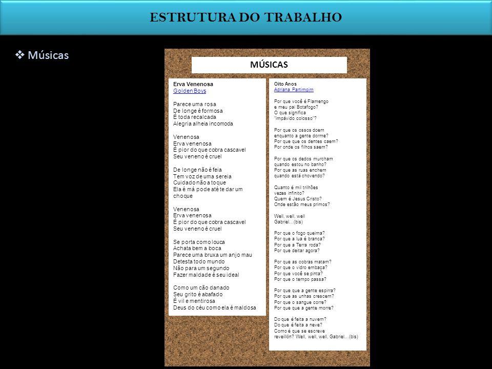 ESTRUTURA DO TRABALHO Análise Qual a temática da música.