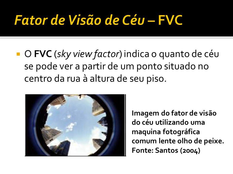 O FVC (sky view factor) indica o quanto de céu se pode ver a partir de um ponto situado no centro da rua à altura de seu piso. Imagem do fator de visã