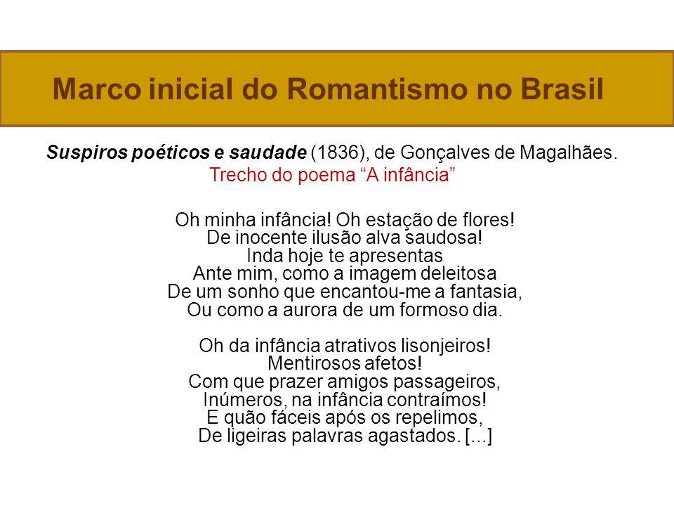 Marco inicial do Romantismo no Brasil Suspiros poéticos e saudade (1836), de Gonçalves de Magalhães.