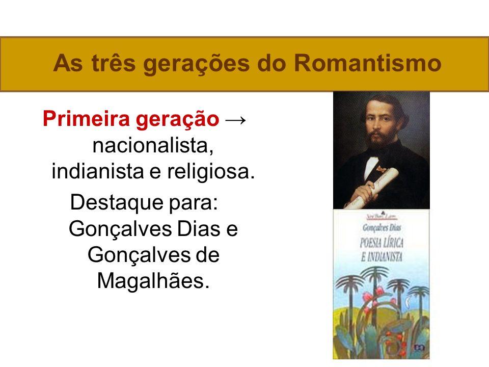 As três gerações do Romantismo Primeira geração nacionalista, indianista e religiosa.