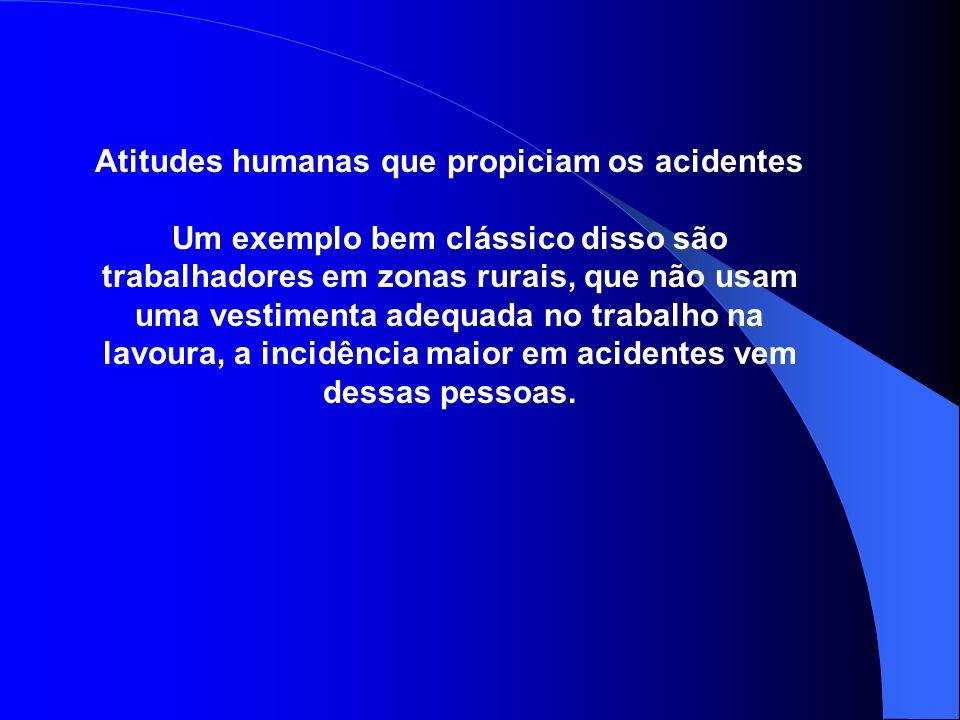 Atitudes humanas que propiciam os acidentes Um exemplo bem clássico disso são trabalhadores em zonas rurais, que não usam uma vestimenta adequada no t
