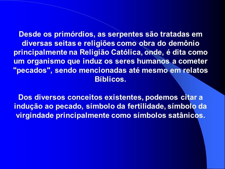 Desde os primórdios, as serpentes são tratadas em diversas seitas e religiões como obra do demônio principalmente na Religião Católica, onde, é dita c