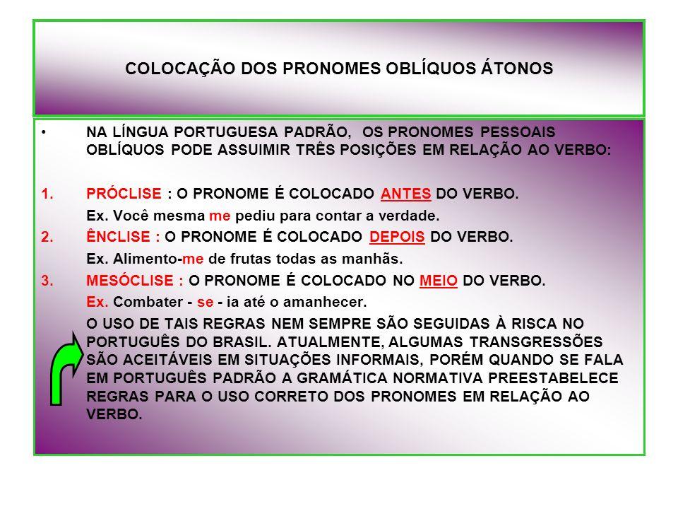 COLOCAÇÃO DOS PRONOMES OBLÍQUOS ÁTONOS NA LÍNGUA PORTUGUESA PADRÃO, OS PRONOMES PESSOAIS OBLÍQUOS PODE ASSUIMIR TRÊS POSIÇÕES EM RELAÇÃO AO VERBO: 1.P