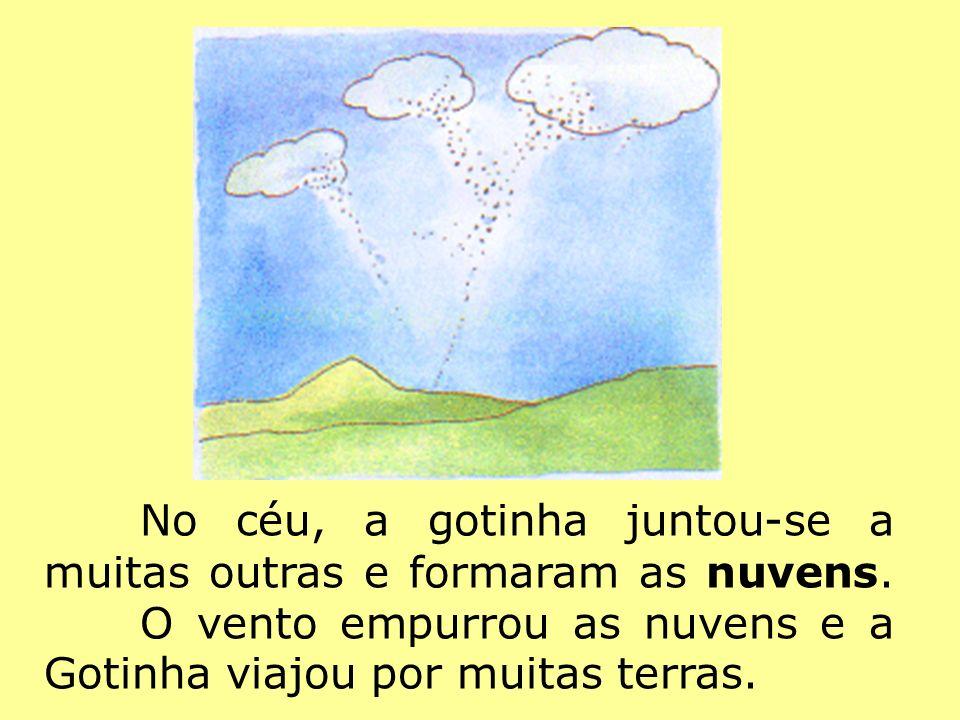 No céu, a gotinha juntou-se a muitas outras e formaram as nuvens. O vento empurrou as nuvens e a Gotinha viajou por muitas terras.