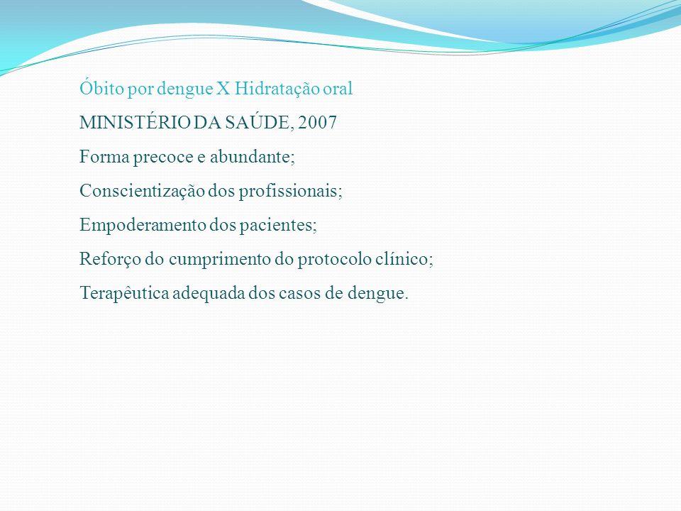 Óbito por dengue X Hidratação oral MINISTÉRIO DA SAÚDE, 2007 Forma precoce e abundante; Conscientização dos profissionais; Empoderamento dos pacientes