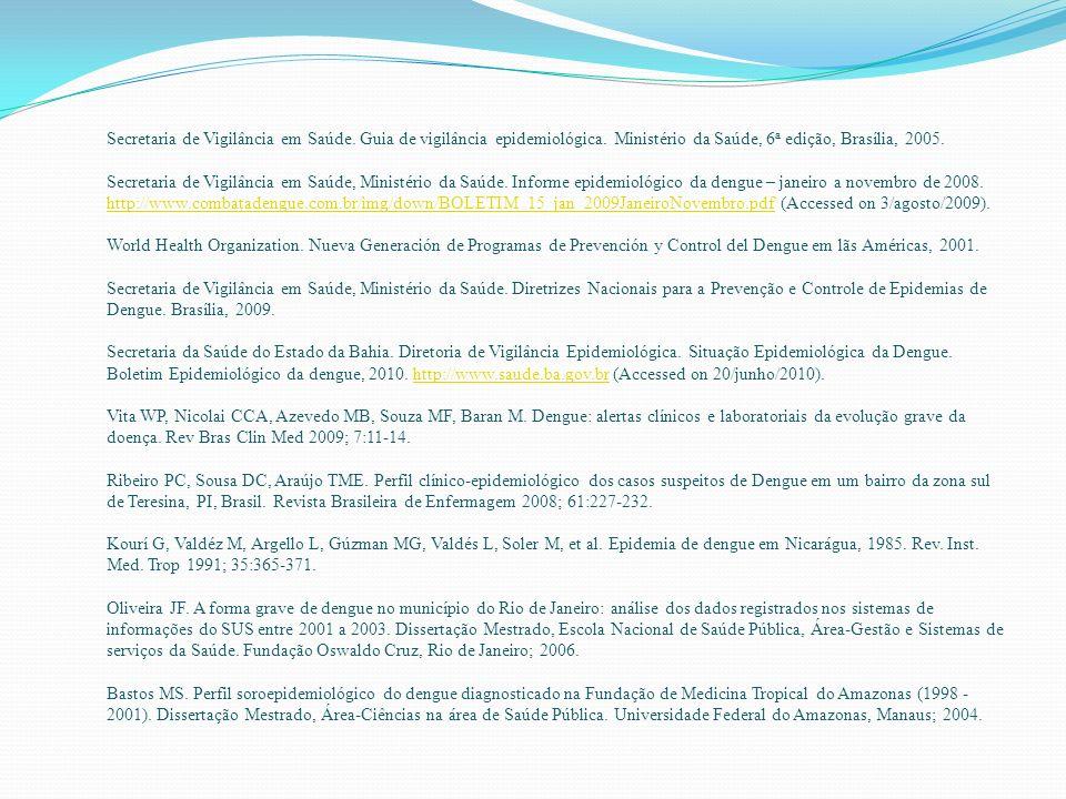 Secretaria de Vigilância em Saúde. Guia de vigilância epidemiológica. Ministério da Saúde, 6 a edição, Brasília, 2005. Secretaria de Vigilância em Saú